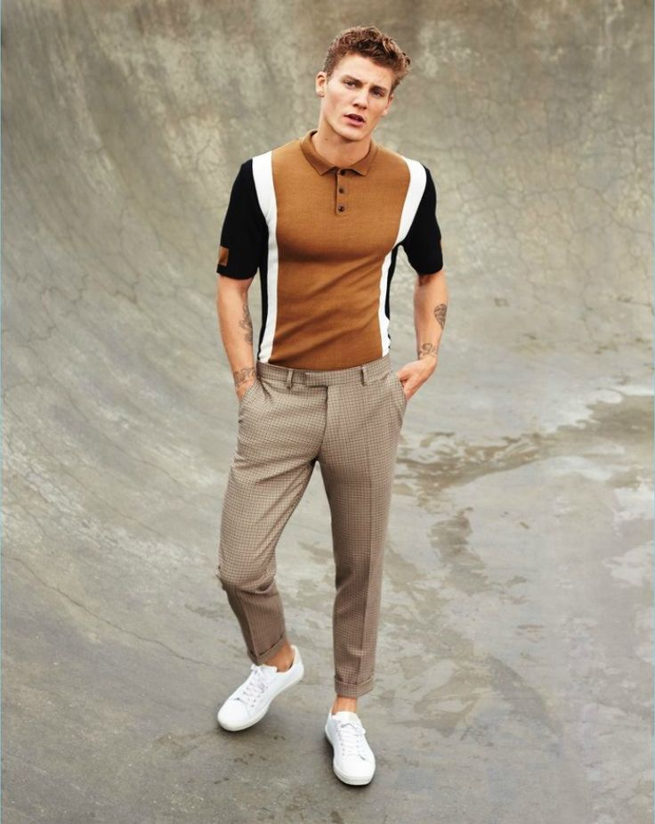 brown polo shirt mens street style