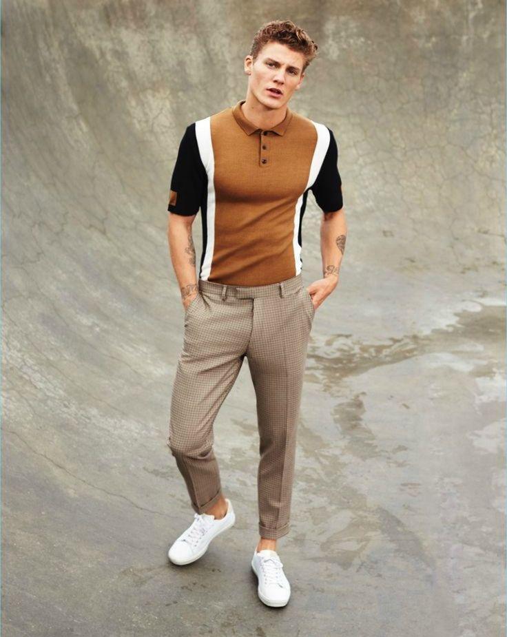 brown polo shirt mens street style