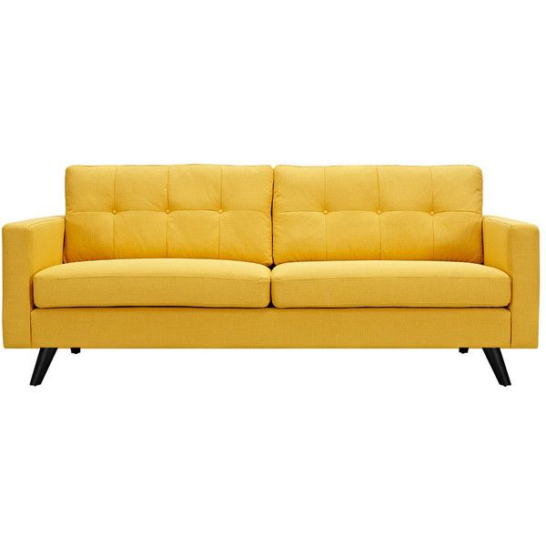 Dot & Bo Graham Sofa in Yellow - Black ($850) ❤ liked on Polyvore featuring home, furniture, sofas, couches, seating, upholstery sofa, fabric furniture, yellow sofa, yellow furniture and yellow couch