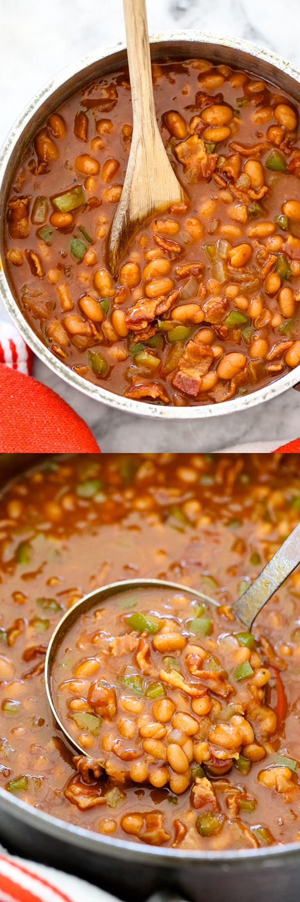 Bacon and tangy yellow mustard make these BBQ Beans a family favorite | foodiecrush.com