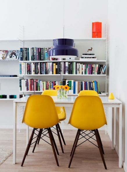 yellow: Yellow Eames, Eames Dsw, Dining Rooms Chairs, Eames Chairs, Breakfast Nooks, Interiors Design, White Rooms, Yellow Chairs, Side Chairs