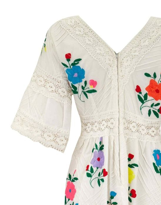 1970s Vintage Mexican Wedding Dress with Embroidery Size 12-14 - Circa Vintage