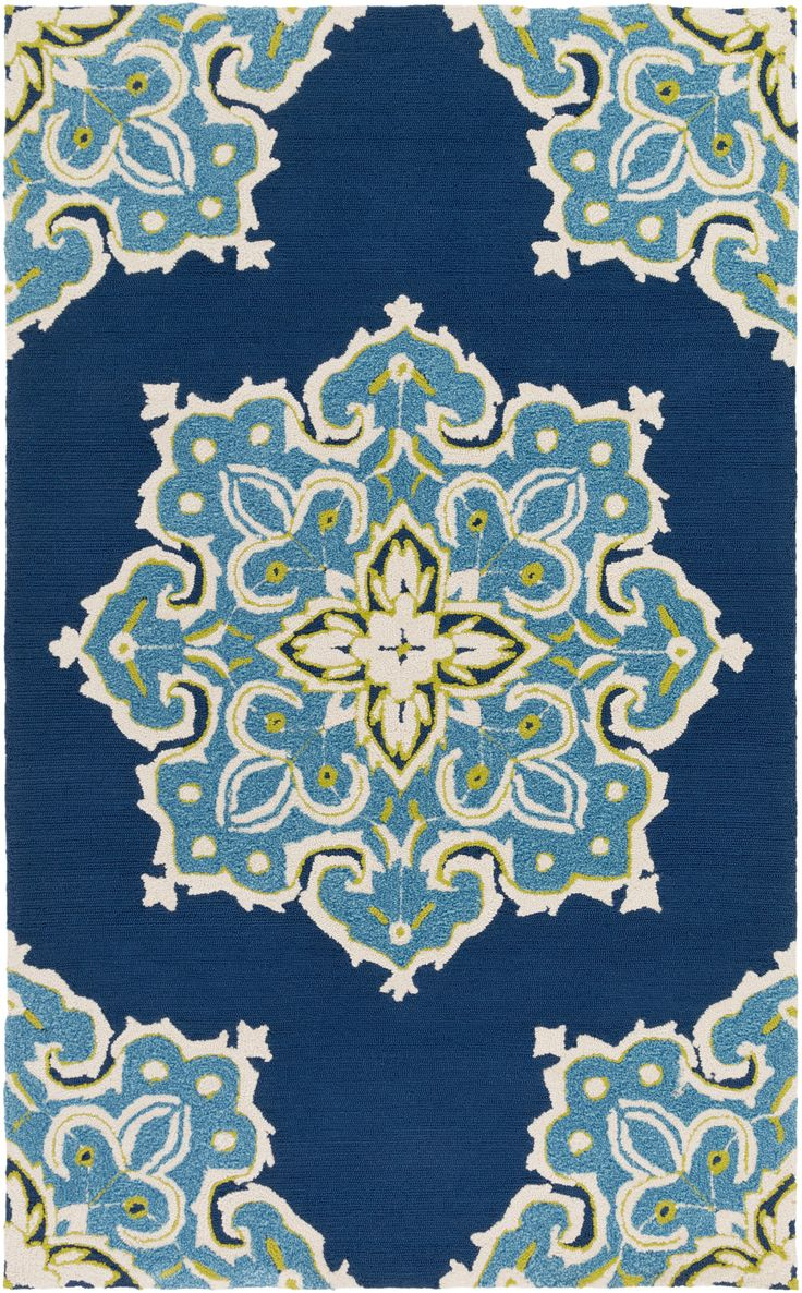 Surya skye area rug blue contemporary design teal and for Navy and teal rug