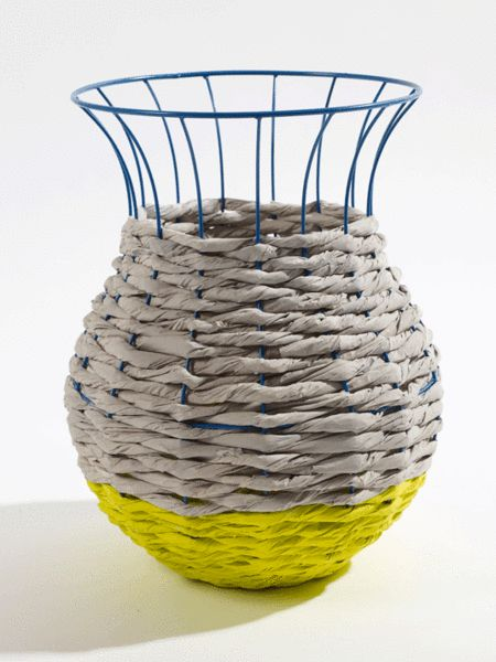 Holly's House - Basket Marie Light Grey & Yellow