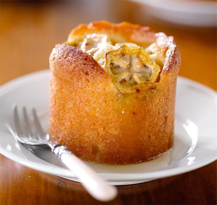 The feijoa slices on top of these delicious little tangy lemon syrup cakes will caramelise as they cook.