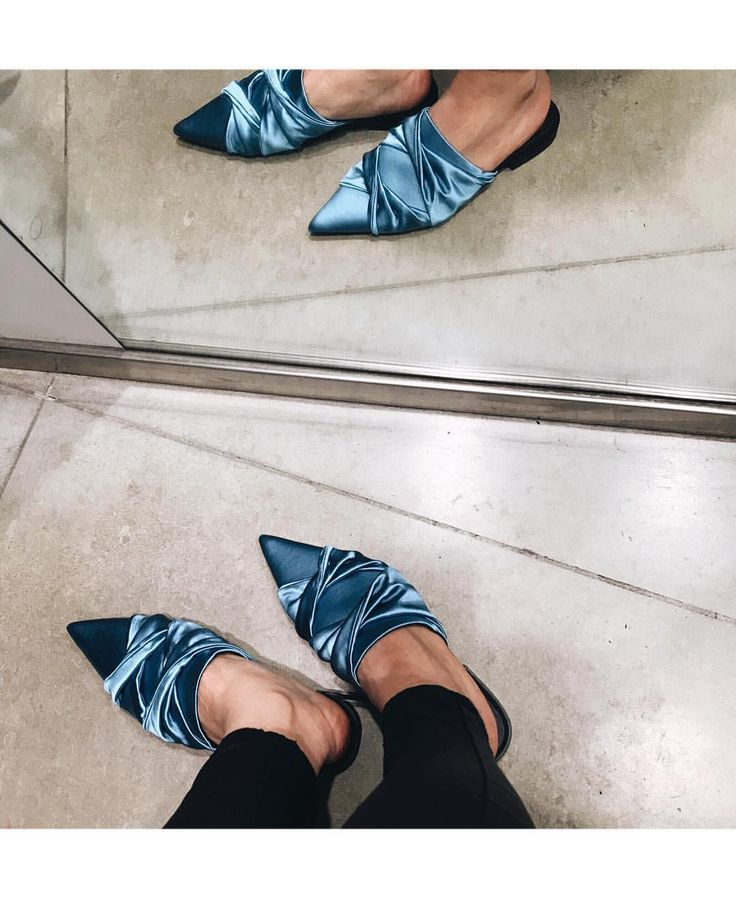 """Satin perfection! No idea when I'll wear these little beauties as not really practical snow wear…"""" shoes, Zara, mules, fashion"""