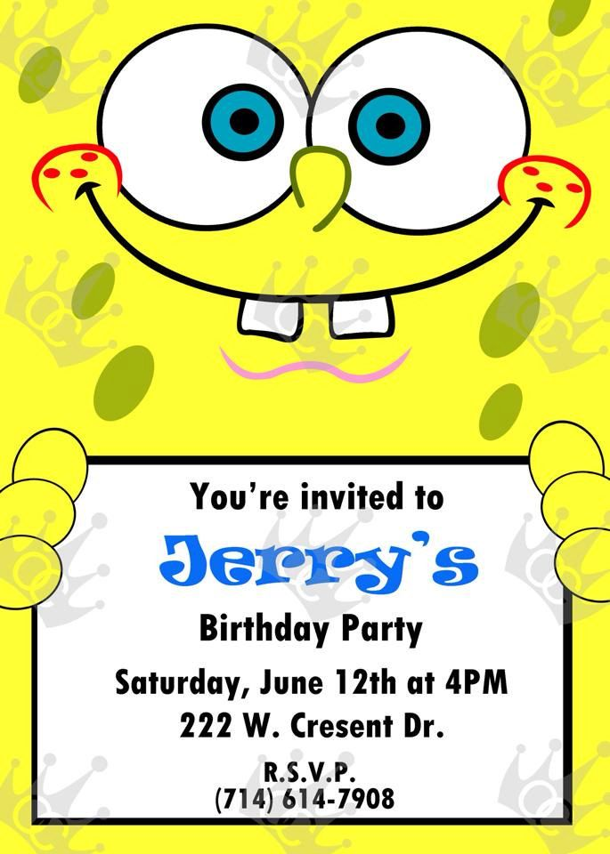 26 best Boy Birthday Invites images – Spongebob Party Invitations