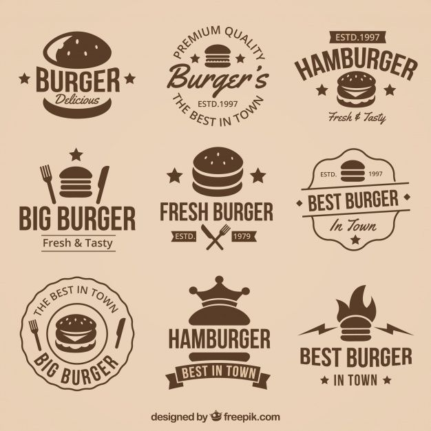 Vintage Collection Of Great Burger Logos Free Vector Freepik Freevector Logo Food Business Vintage In 2020 Burger Logo Food Logos