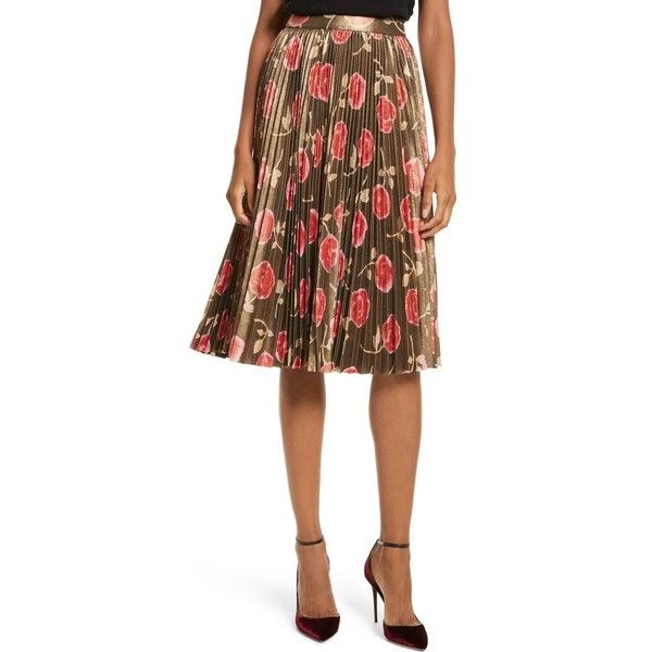Women's Kate Spade New York Hazy Rose Pleated Metallic Skirt (2.780 NOK) ❤ liked on Polyvore featuring skirts, black multi, rosette skirt, metallic skirt, kate spade skirt, rose skirt and going out skirts