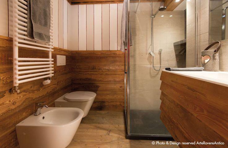 || Arte Rovere Antico - Photo by Duilio Beltramone for Sgsm.it || Casa Verde - La Thuile - Wood Interior Design - Bathroom