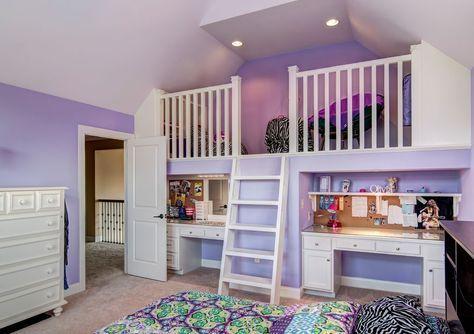 Traditional Kids Bedroom with Built-in bookshelf, Cathedral ceiling, flush light, Carpet, Loft