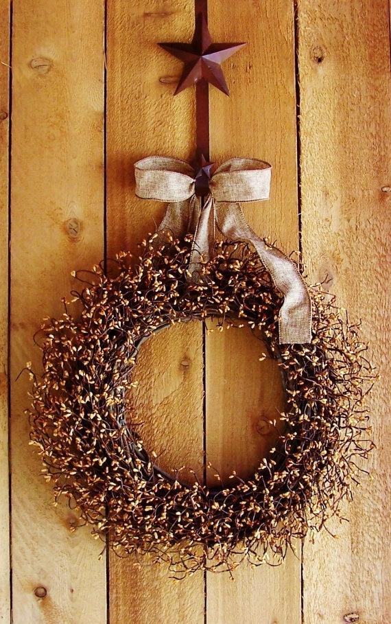 Spring Door WreathRUSTIC BURLAP CARMEL Berry by DesigningCreations, $69.00