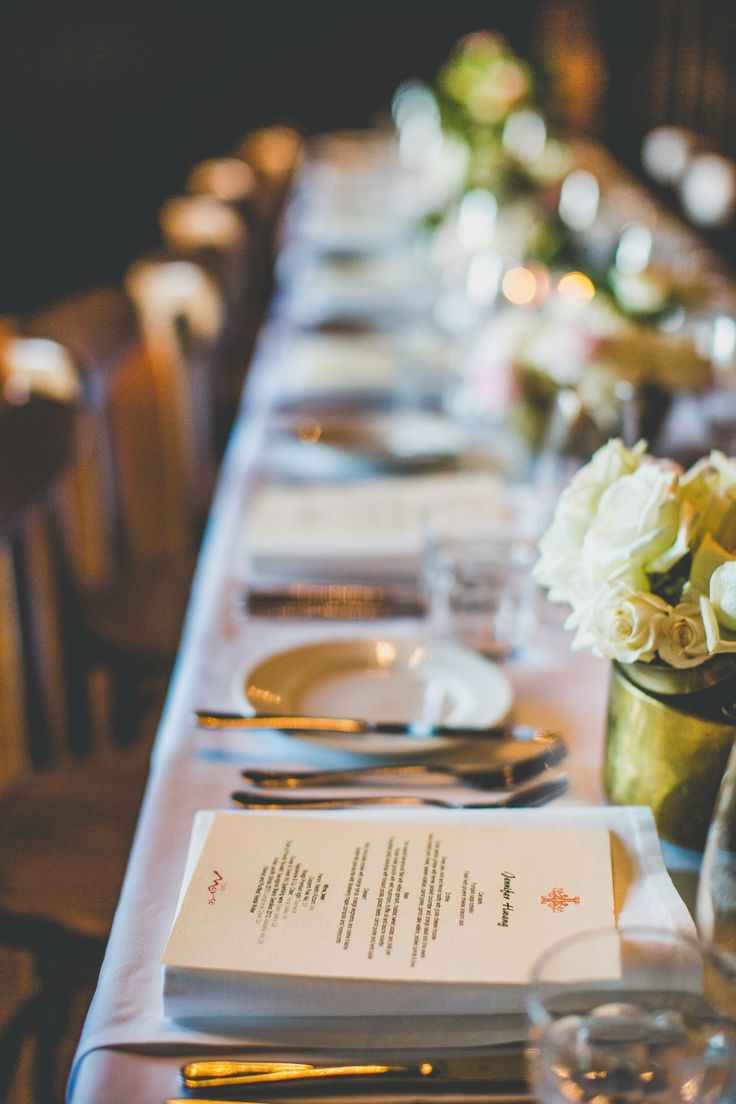 Menu and place setting, wedding Cafe Morso Pyrmont