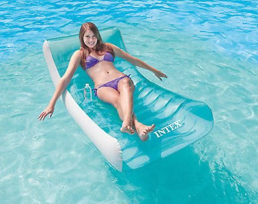 Intex Inflatable Rockin' Lounge Swimming Pool Floating Raft Chair With Cupholder 58856ep 078257308767