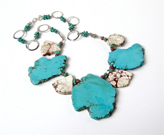 Chunky turquoise jewelry  turquoise and off by sparklecityjewelry
