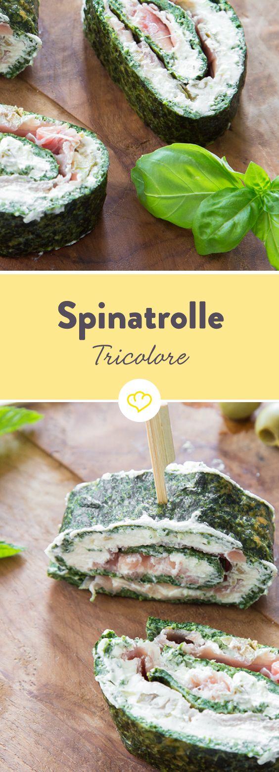 """Bei dieser herrlich frischen Vorspeise mit dem schönen Namen """"Tricolore-Rolle"""" lassen sich roter Schinken und weißer Frischkäse von einem würzigen Spinatboden einwickeln."""