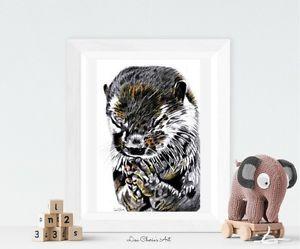 Praying-Otter-Print-Nursery-Art-Nursery-Decor-Otter-Animal-Art-Spiritual-Art