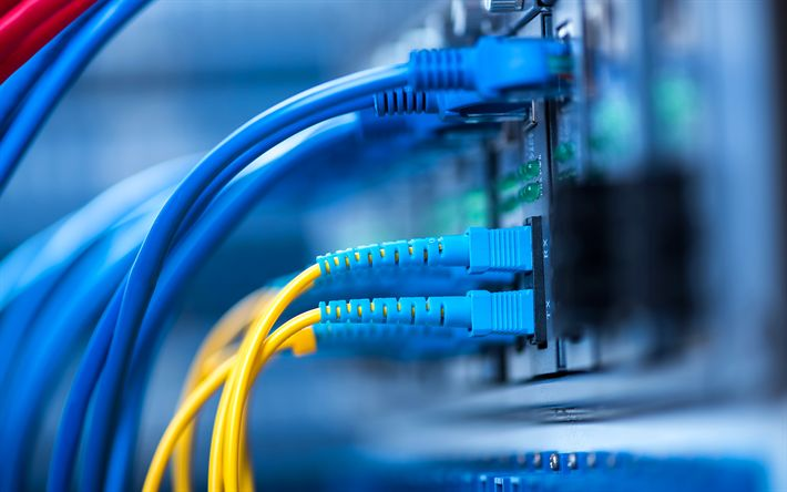 Download wallpapers Internet technologies, 4k, cables, hub, wires, telecommunication, link, network