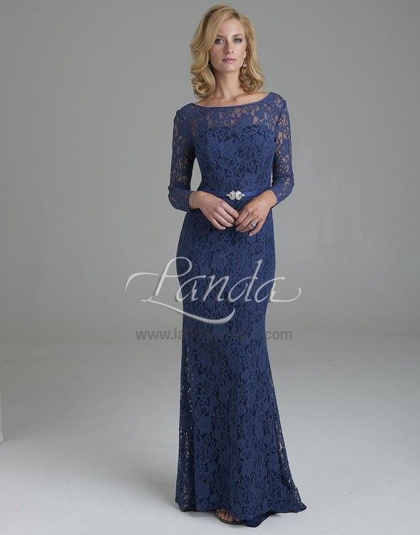 Wedding Dresses, Bridesmaid Dresses, Prom Dresses and Bridal Dresses Landa Lily Evenings - Style LE165 [LE165] - Landa Lily Evenings, Fall 2015. Alencon lace floor length evening gown with long sleeves. Shown in Blueberry.