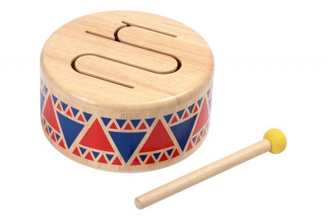 Plan Toys - Bębenek drewniany o bardzo miłym dźwięku