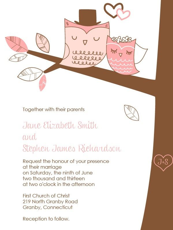 Free Printable Owl Wedding Invitation  http://www.freetemplateideas.com/67-lovely-free-printable-wedding-invitations/