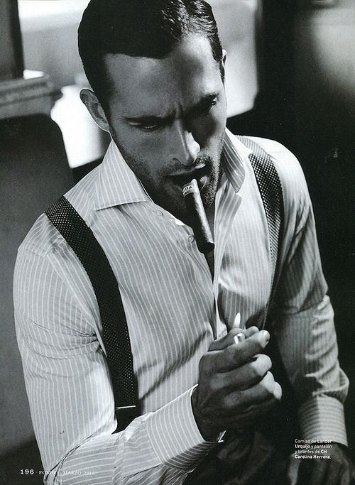 suspenders & cigars... There's just something about suspenders on men who suit them that makes us weak in the knees! ~js