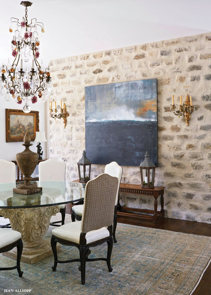 Formal dining with mortar washed stone fireplace things for Traditional dining room fireplace