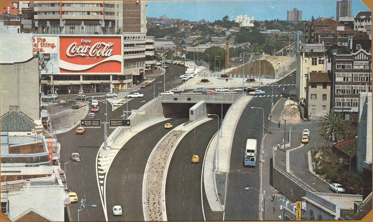 The top of William Street (including the famous Coke sign and former Hyatt Hotel), Kings Cross, looking east; circa 1975. #Sydney #KingsCross #1975 #RetroGoodness #CocaCola #Hyatt