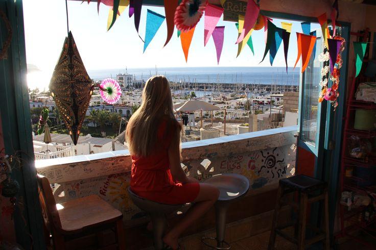Nice view from the communal kitchen of Volver hostel in Puerto de Mogan