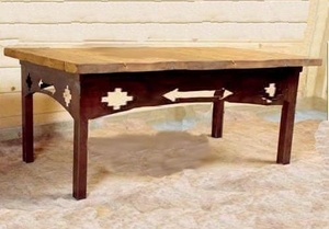#Southwestern #Coffee #Table - Quality Hand-Crafted to last a lifetime and Made in America, this Southwestern Coffee Table measures 24 inches Wide by 48 inches Long by 16 inches High with a cutout design that repeats on all four sides. The distressed rustic stained wood top beautifully accents this design. http://www.okdecor.com/southwestern-coffee-table.html#.UW6sHUo7pdI