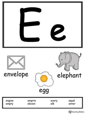 Letter E Alphabet Flash Cards For Preschoolers Alphabet Flashcards Alphabet Printables Word Cards