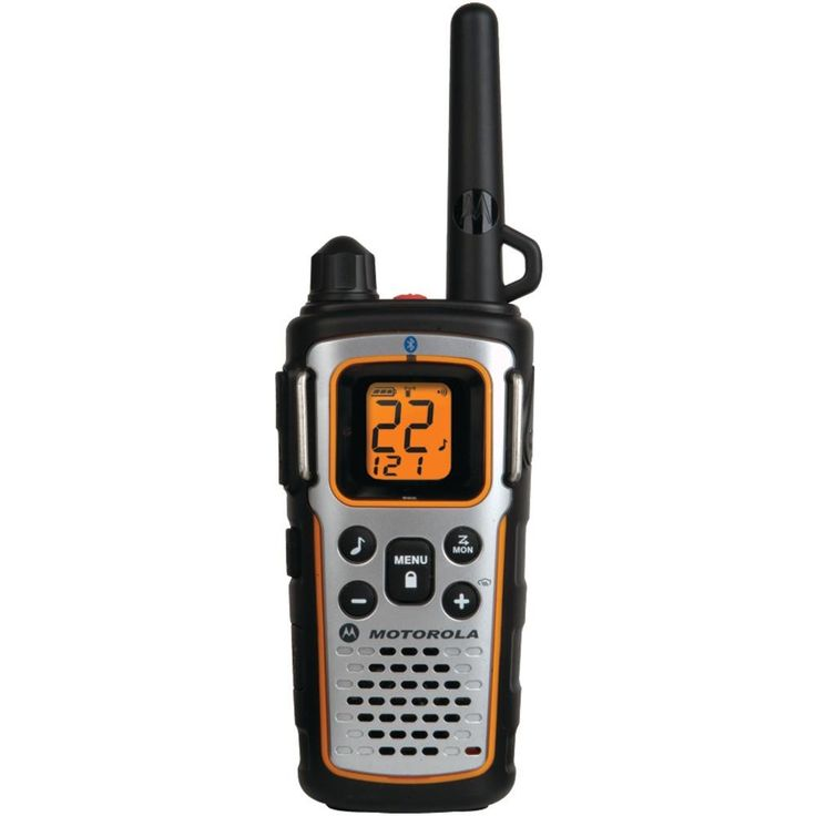Motorola 35-mile Talkabout Bluetooth 2-way Radio. Up to 35-mile range Bluetooth(R) capability to connect to Bluetooth(R) headset & PTT button (not included) Weatherproof (IP54) dust protected & splashproof 11 weather channels with alert feature Weather radio scan Dual watch Emergency alert button LED flashlight PTT Power Boost VibraCall(R) vibrating alert iVOX hands-free communication QT(TM) (Quiet Talk) interruption filter Time-out timer Priority scan Monitor function Auto squelch...