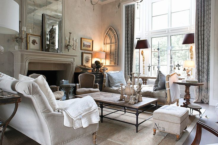 living rooms - textured walls fireplace gray tufted French daybed blue pillows industrial coffee table gray linen tufted sofa vintage grain sack ottoman damask rug layered sisal rug #EasyNip .... Someday when I don't have a little kid.