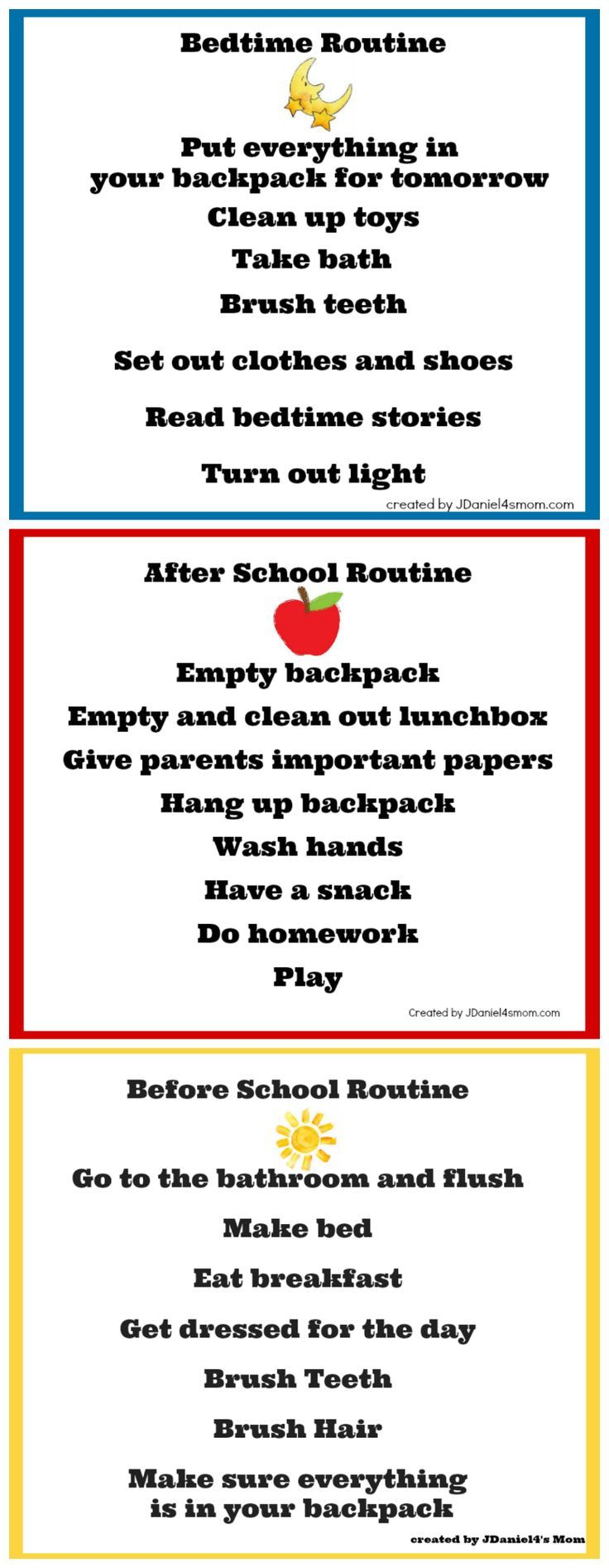 Back to School Chore Charts - http://www.diyhomeproject.net/back-to-school-chore-charts