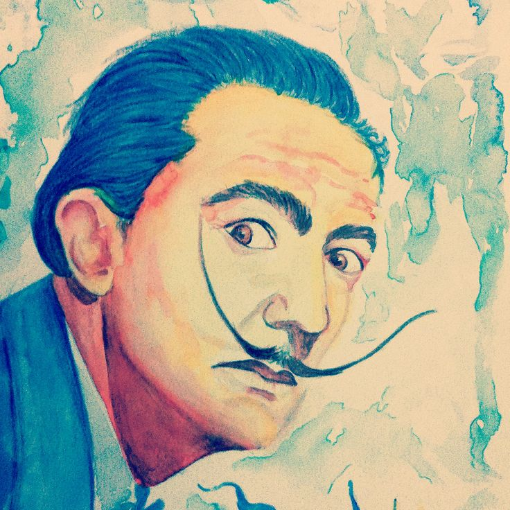 Salvador Dalí - Watercolor portrait