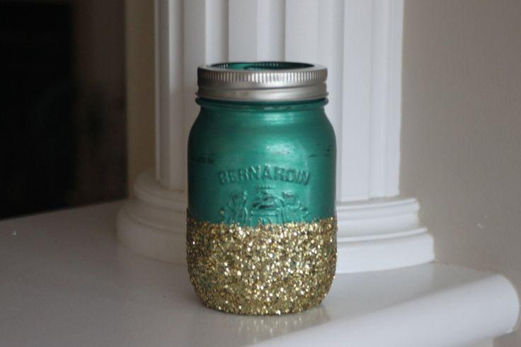 Painted Mason Jars, Christmas Mason Jars, Sparkle Mason Jars, Gold Mason Jars, Glitter Jars, Green Mason Jars, Metallic Jars, Distressed jar by stringNthingsCanada on Etsy