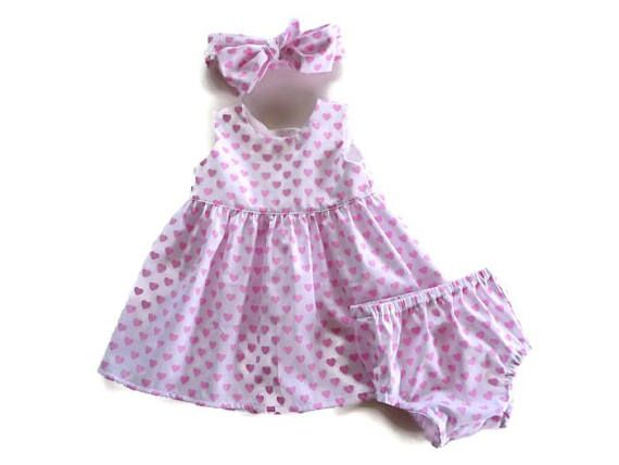 Dress with pink hearts  valentines day dress  baby dress