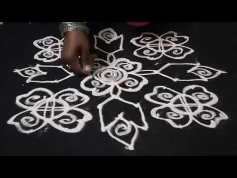 12 dots rangoli designs - 12 dots  2 lines to 2 - medium rangoli designs...