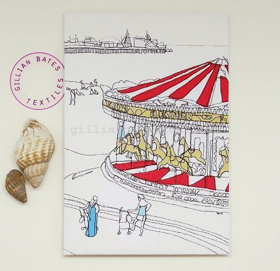 The Carousel  Handmade Postcard by gillian bates by gillianbates, £4.00