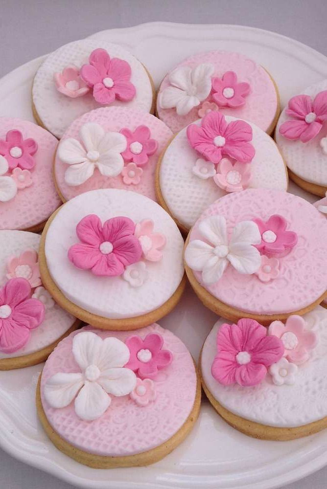 Beautiful floral cookies at a Shabby chic Bridal Shower Party!  See more party planning ideas at http://CatchMyParty.com!