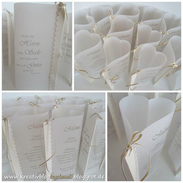 """Heute zeige ich Euch die Menükarten in Herzform aus weißem Pergament, die ich für die """"Goldene Hochzeit"""" gemacht habe - schlicht und edel ..."""
