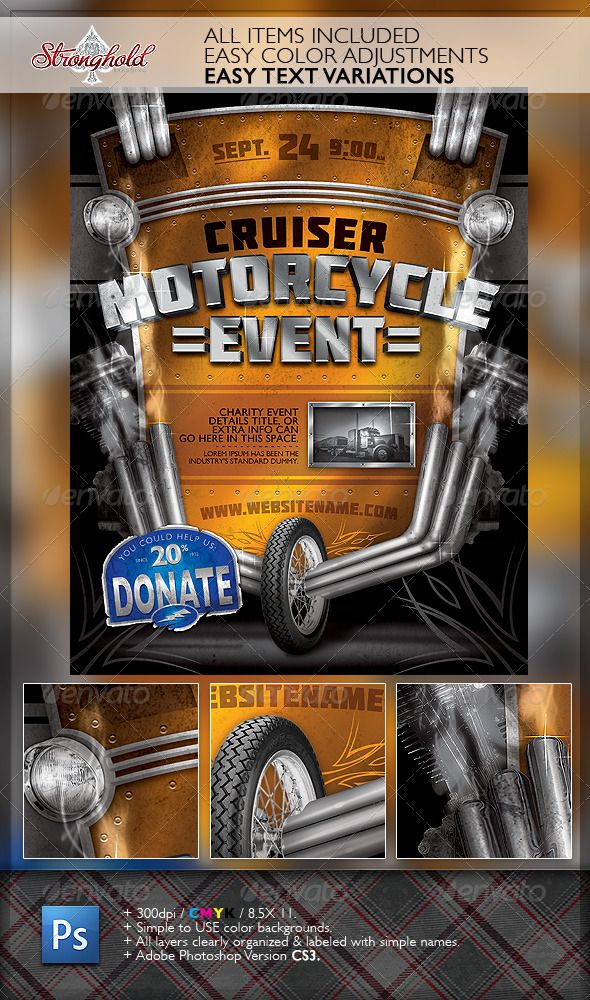 vintage motorcycle event flyer template flyer template
