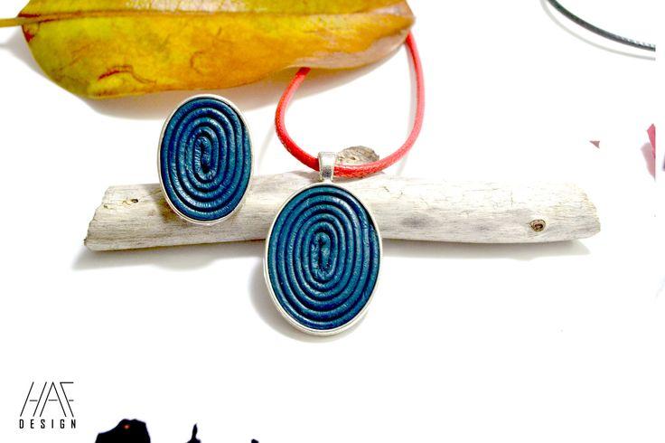 Parure Bague et collier originale en CUIR spirales et cabochon en argent plaqué 925 Bleu : Parure par haf-design