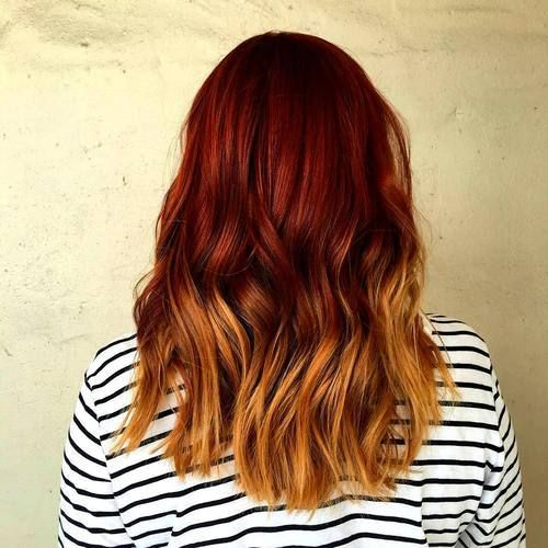 medium red to golden blonde ombre hair