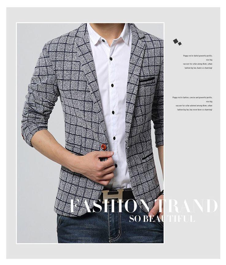 YVYVLOLOPlaid Blazer Men Costume Homme Coat Blazer Masculino Brand Clothing 2016…