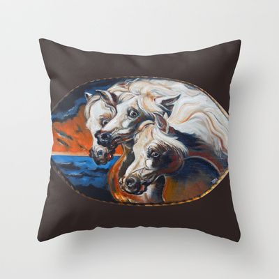 The Pharoah's Horses Throw Pillow by Christopher Chouinard - $20.00