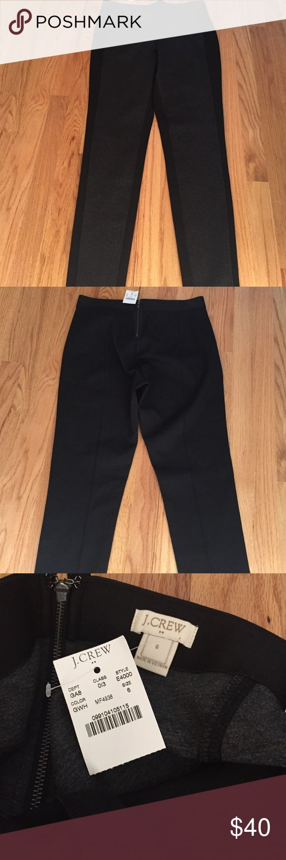 J crew leggings pants 6 Zip in the back. New with tag. Full length. Stretchy. Dark Heather gray front and the rest is black. J. Crew Pants Leggings