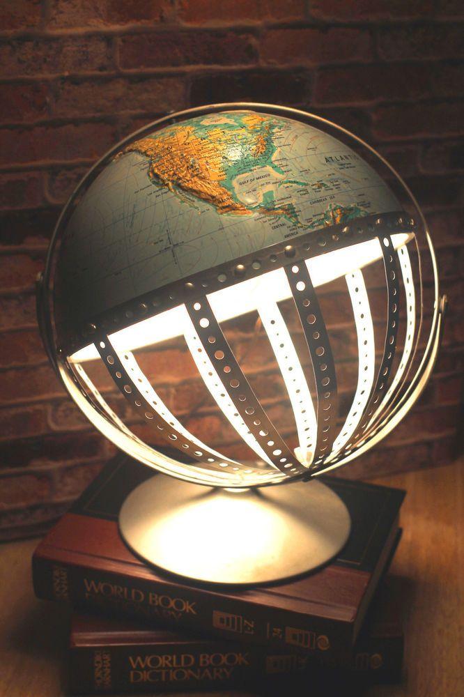 SOLD..........Vintage Steam Punk Industrial Re-purposed World Globe Steel Swivel Desk Lamp #Vintage #Industrial