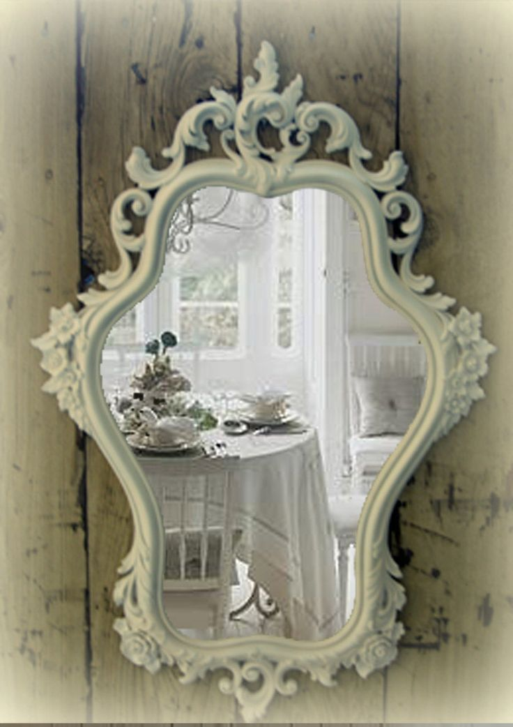 Gorgeous Hour Glass Mirror, Shaby Chic Mirror, Vintage White Mirror, Hollywood Regency. $225.00, via Etsy.