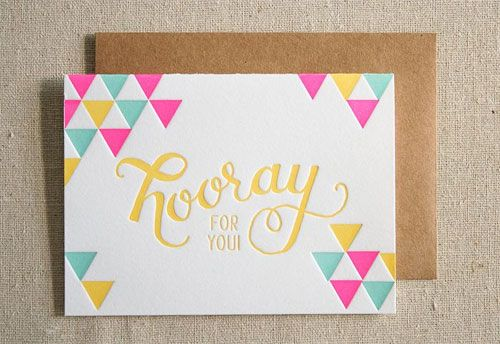 Hooray Letterpress Card...in love with the colors and type!